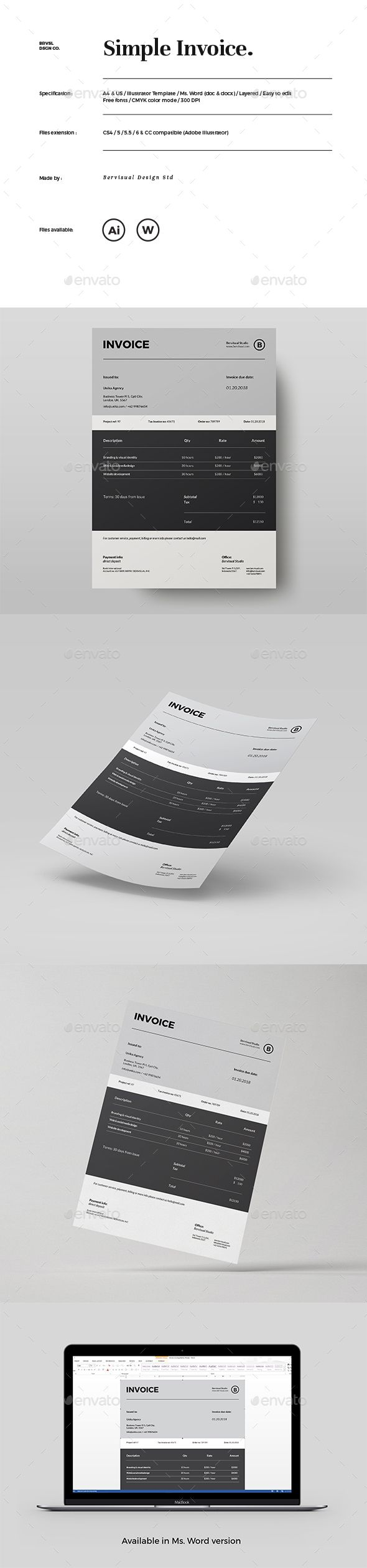 Invoice template designed with a unique, minimal and modern layout for personal or corporate project. Available in 2 sizes, A4 and