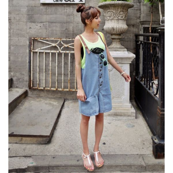 Leisure Loose Style Mid Waist Pure Color Button Decorated Straps Jean Denim for wholesale womenjumpsuit|Lower Wholesale Price  #wholesalejumpsuit #womenjumpsuit By   www.clubwholesale.net