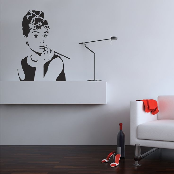 Best Wall Stickers Images On Pinterest Wall Decals Wall - Wall stickershuhushopxaudrey hepburn beautiful eyes removable