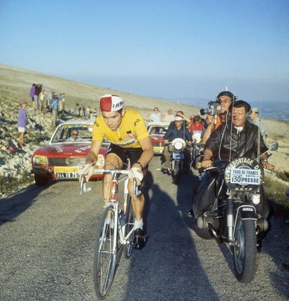 Eddy Merckx climbing the legendary Mont Ventoux in the yellow jersey during the 1974 Tour de France.