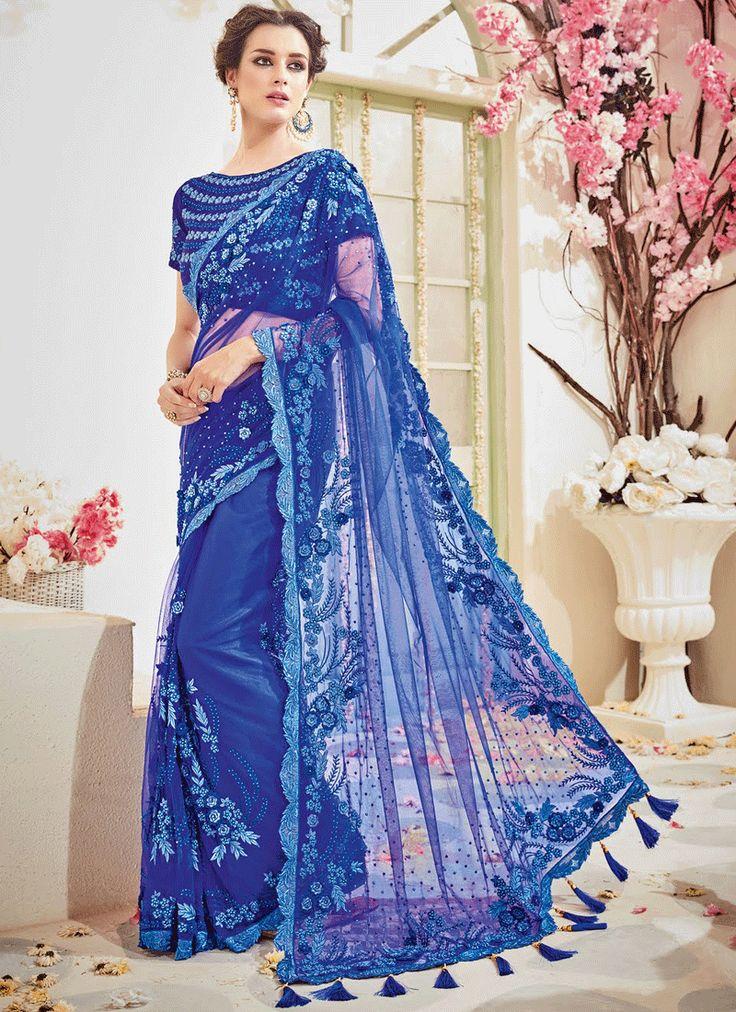 ROYAL BLUE EMBELLISHED NET DESIGNER WEDDING SAREE