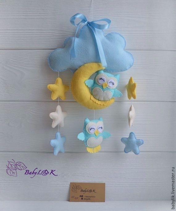 Купить Подвеска совушки на луне - фетр, из фетра, подвеска, именная подвеска, для детей, в детскую