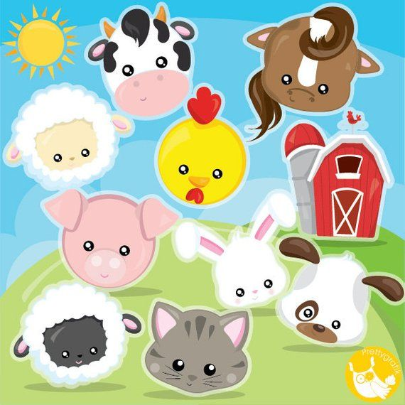 Buy 20 Get 10 Off Farm Animal Faces Clipart Commercial Use Etsy In 2021 Animal Faces Farm Animals Barn Animals
