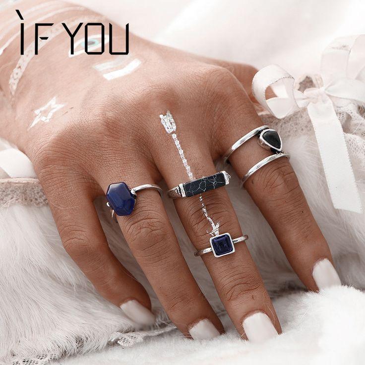 Vintage Silver Color Gold Color Stone Rings SET For Women/Men Bead Finger Ring Bohemian conjuntos Midi Ring Steampunk 4 PCS 1Set