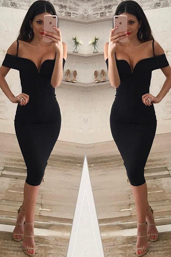 cocktail dresses, short party dresses, cheap knee-length party dresses, black off shoulder party dresses