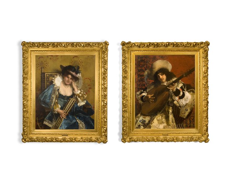 Cesare Maccari (Siena 1840-1919 Rome) A music couple (pair) Oil on canvas  Both signed and dated 'C. Maccari / Roma 1876'