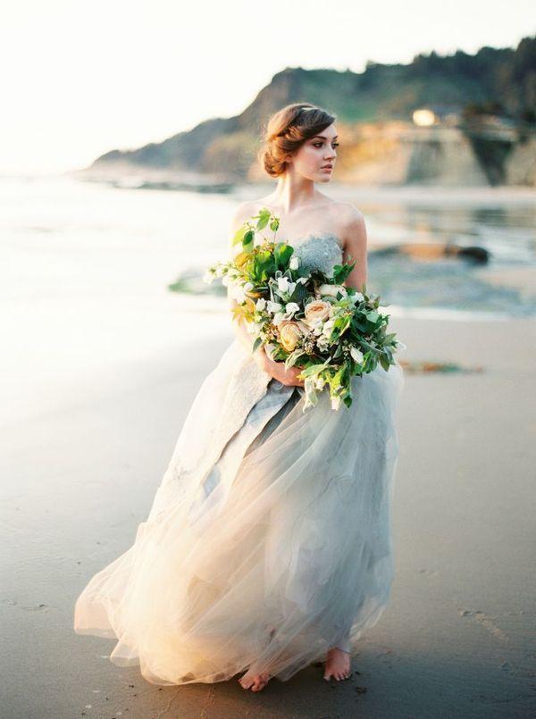 Ethereal Gray Chiffon Wedding Dress | Erich McVey Photography | The Perfect Wedding Dress for a Beach Bride!