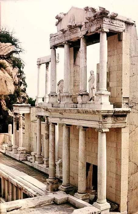 The ancient Roman theatre of Philippopolis in the city center of Plovdiv (ancient Philippopolis), Bulgaria. According to a builders' inscription, discovered on the frieze-architrave of the eastern proskenion, the construction of the theatre dates back to the time of Emperor Trajan (reigned 98–117 AD).