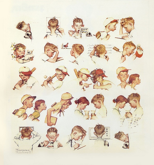 1952- A Day in the Life of a Boy --by Norman Rockwell