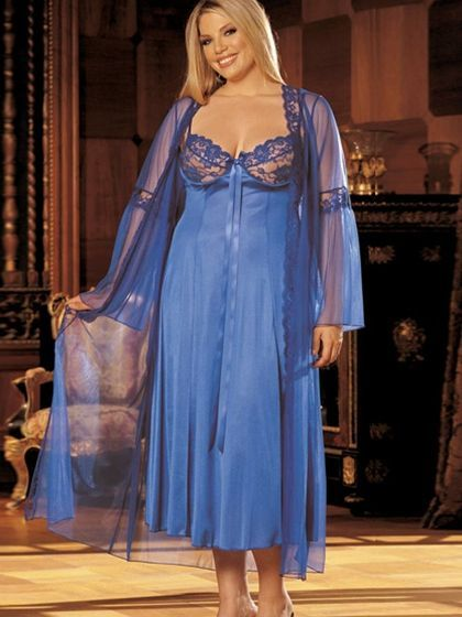 Long Gown Peignoir Set  #PeignoirSet  #plussizepanties http://www.planetgoldilocks.com/plus-size-panties.htm #panties #pantys #lingerie #plussizefashion #nightgowns