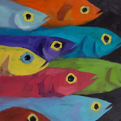 "Daily Paintworks - ""Fish Fiesta"" - Original Fine Art for Sale - © Johnna Schelling"