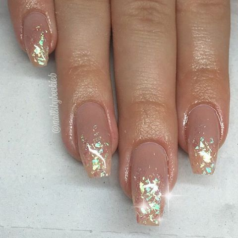 Taupe Nude + Holographic Mylar glitter flakes Long Square Tip Nails. Elegant. #nail #nailart