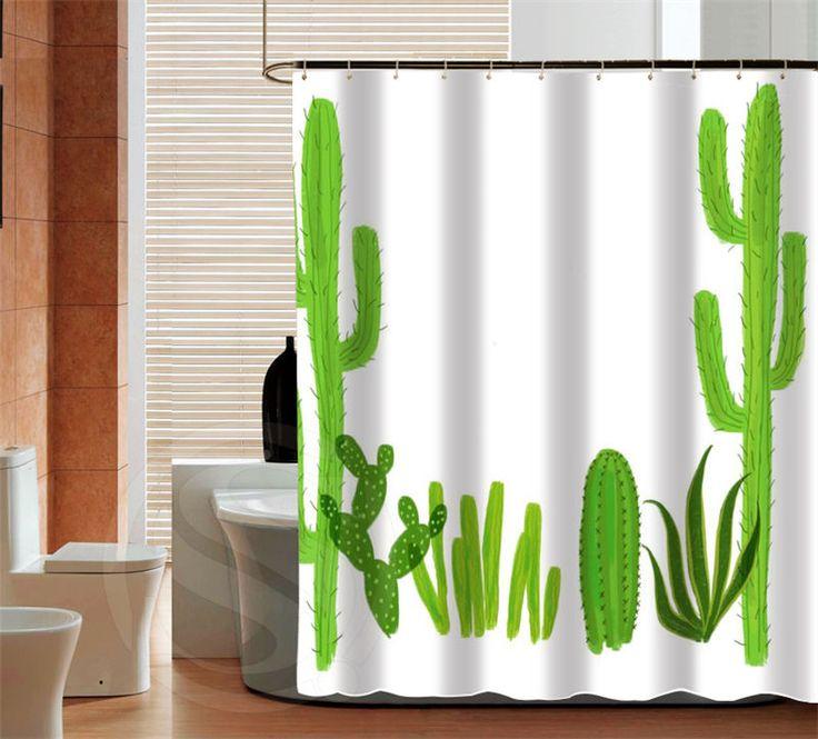 Отличительной кактус последние мода на заказ занавески для душа уолл ванной декора различных размеров бесплатная доставка больше размера SQ0428 ZHH купить на AliExpress