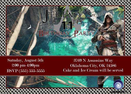 Assassin's Creed Black Flag Birthday Invitation