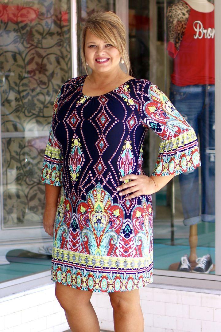 One Faith Boutique - Elegant Border Print Dress - Navy  ~ Sizes 12-18, $39.00 (http://www.onefaithboutique.com/restocks/elegant-border-print-dress-navy-sizes-12-18/)