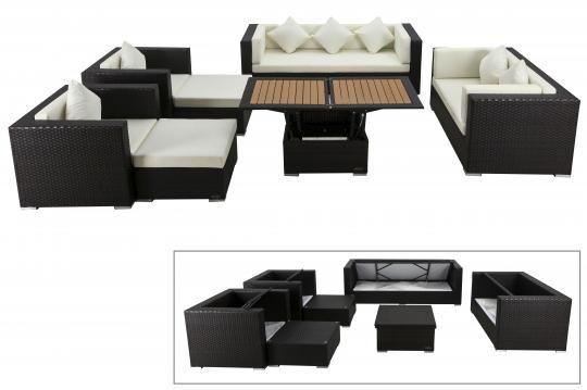 OUTFLEXX Loungemöbel-Set, braun, Polyrattan, für 9 Personen, inkl. Loungetisch, mit Kissenboxfunktion