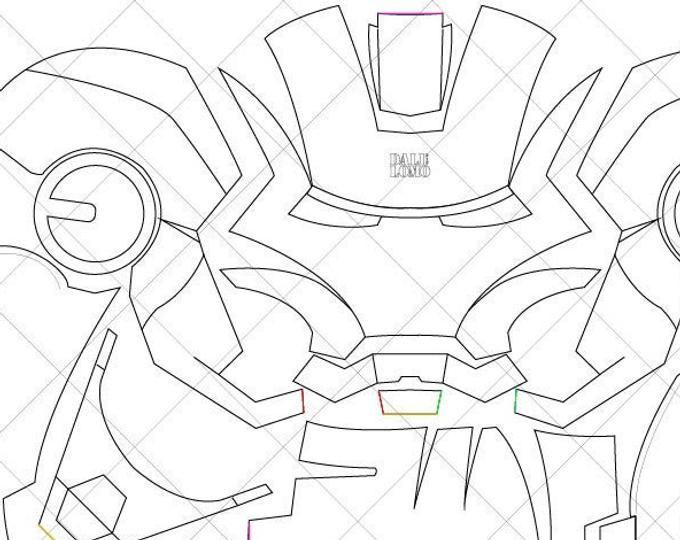 Iron Man Mark 42 Helmet A4 Letter Size Pdf Template Ready To Print Iron Man Helmet Iron Man Drawing Iron Man