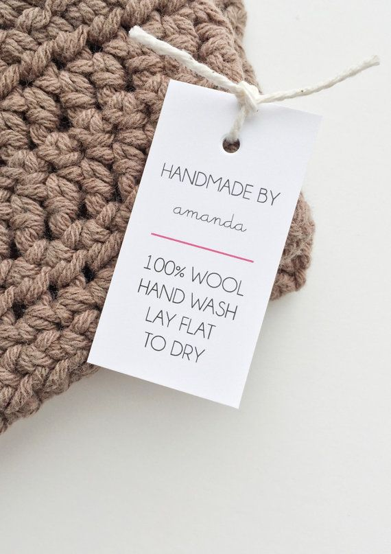 Knitting Labels Custom : Shop labels handmade tags care with love