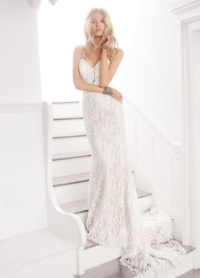 Ivory / Champagne bridal sheath with a strapless sweetheart neckline and sheer center back skirt godet. Bridal Gowns, Wedding Dresses from Ti Adora by Alvina Valenta - JLM Couture - Bridal Style 7607 by JLM Couture, Inc.