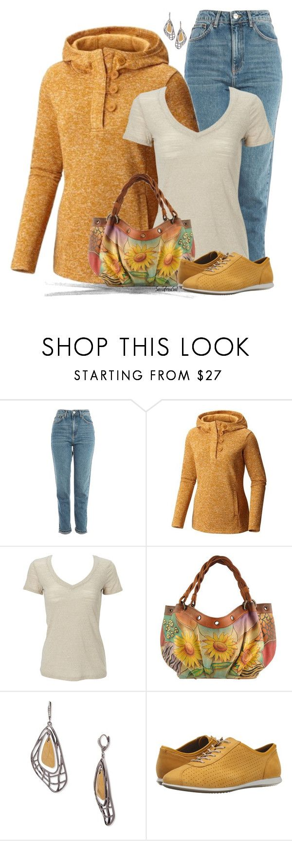 """""""Hoodie & Sneakers"""" by sassafrasgal ❤ liked on Polyvore featuring Topshop, Columbia Sportswear, Simplex Apparel, Anuschka, Jenny Packham and ECCO"""