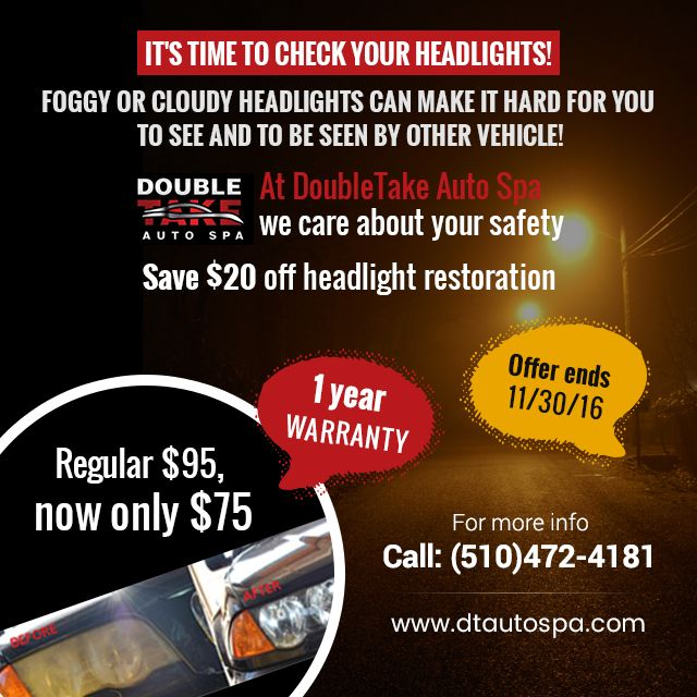 Having your vehicle's headlights restored is not only important for the overall aesthetic appeal, but also for safety reasons. We are offering headlight restoration services of $95 only for $75. What else are you waiting for? Call us today to book your service!  #Dtautospa #Detailing #Service #discount #holidaydeals #fremont #unioncity #newark #cars #motor #winter #goodlife #instaauto #family #mother #dad #parenting #nearme