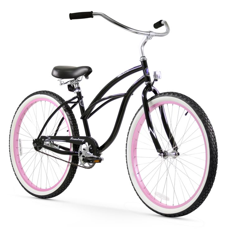 "26"" Firmstrong Urban Lady Limited Single Speed Women's Beach Cruiser Bike, with Pink Rims"