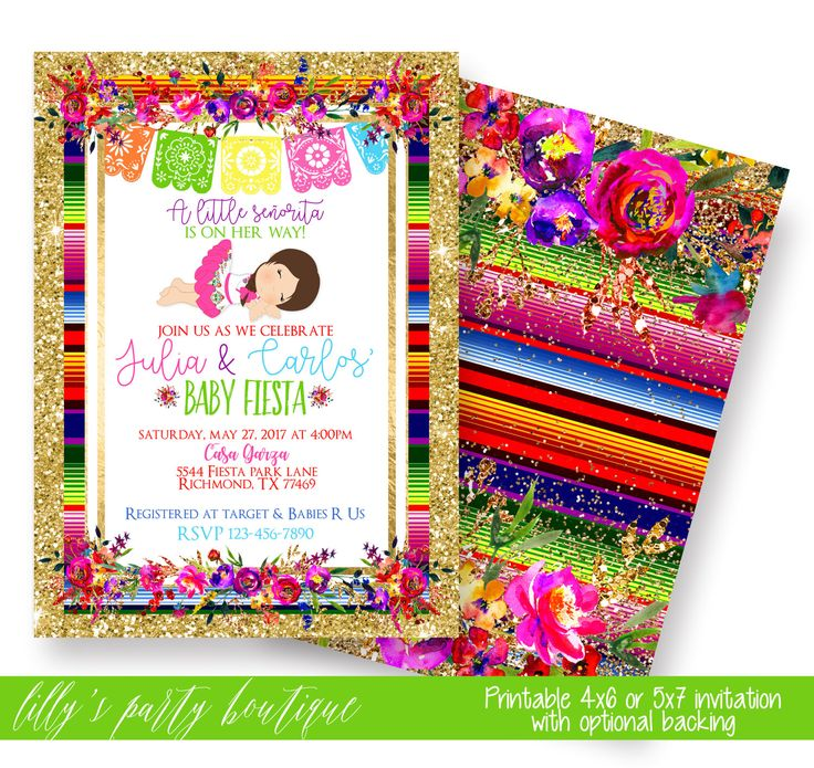 Fiesta Baby Shower Invitation, Mexican Fiesta Baby Shower Invite, Senorita,  Fiesta, Floral
