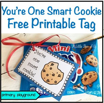 You're One Smart Cookie Free Printable TagSo many fun uses for these cute tags! Print them out to send home with the kids on the first or last day of school, during testing time, when they accomplish something fantastic in the classroom, or a random esteem builder.