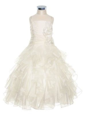 Exquisite Ivory Organza Ruffles Overlay Girl Dress (Sizes 2-20 in 10 Colors)