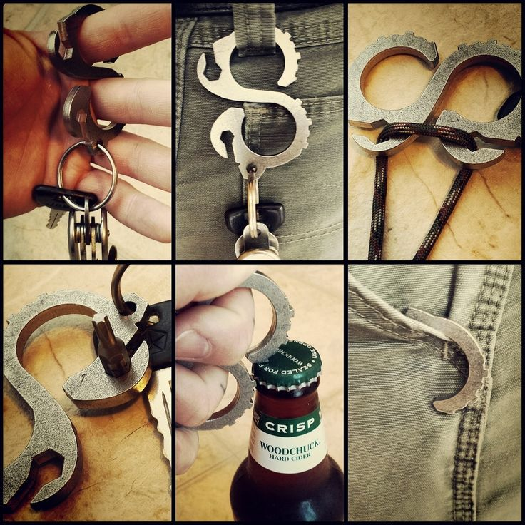 Og Solo: This Keychain / pocket tool is 3/16 304 stainless steel, Titanium, Copper or brass ,stone washed and wire wheeled. The features are as follows, 1/4 and 5/16 hex wrenches, bottle opener, S hook ( loops on belt loop, catch on pocket or can be used for light weight connects) from hex to hex cord can be wrapped to be used to carry an item.