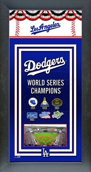 Los Angeles Dodgers World Series Championships logo, stadium ballpark photo and world series wins in a framed banner ready to hang.