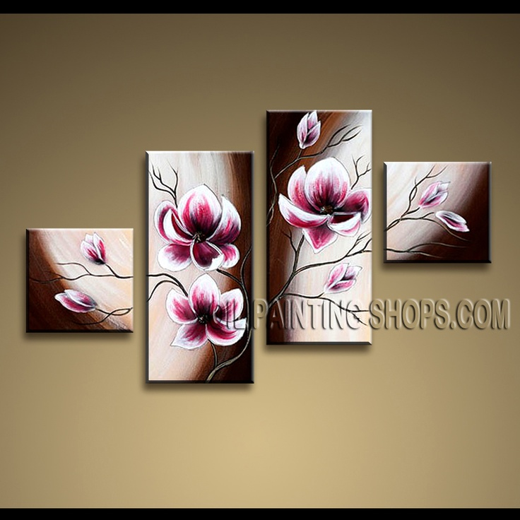 Stunning Contemporary Wall Art Oil Painting On Canvas Gallery Stretched Tulip Flowers. This 4 panels canvas wall art is hand painted by Anmi.Z, instock - $128. To see more, visit OilPaintingShops.com