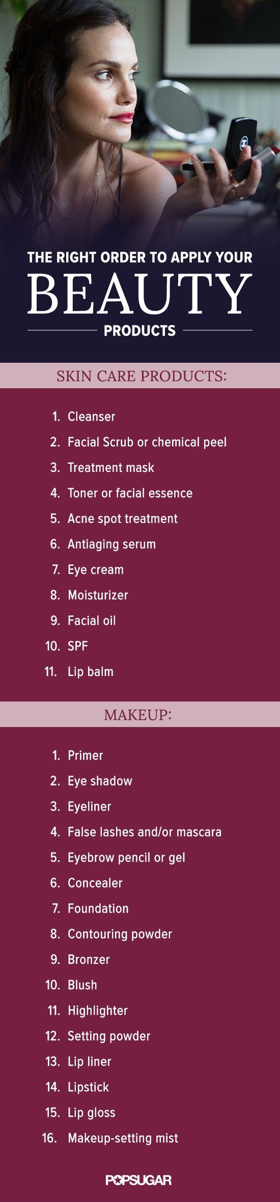 Have you been putting your makeup and skin care products on in the wrong order? Pin this to make sure you're doing it right.