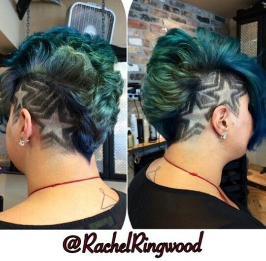 Shaved sided star design green dyed Mohawk hair