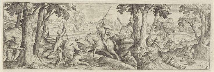 Anonymous | Zwijnenjacht, Anonymous, Hans Bol, Frederik de Wit, 1631 | In het midden wordt een wild zwijn door een groep jagers en hun honden opgejaagd. Enkele jagers zijn te paard. Eén van de jagers ligt bij het zwijn op de grond. In de rug van het zwijn steekt een dolk. Het bos is deels met lage netten afgezet.