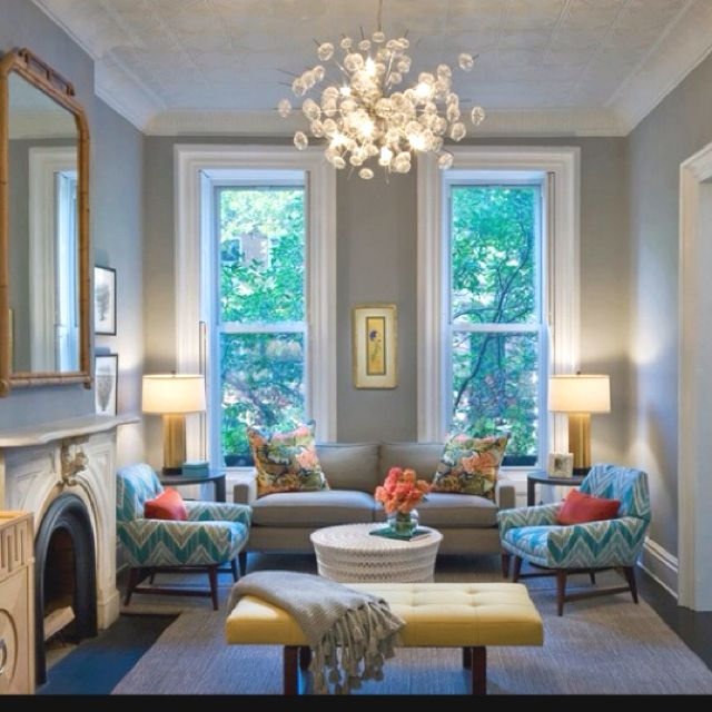 Final family room color palette...gray, teal, coral...with dashes of white and yellow