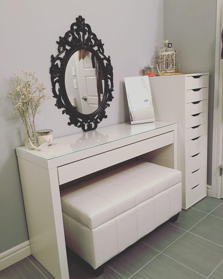 Updated vanity. Malm desk (IKEA), Alex drawers (IKEA), Bella storage bench (Home Depot).