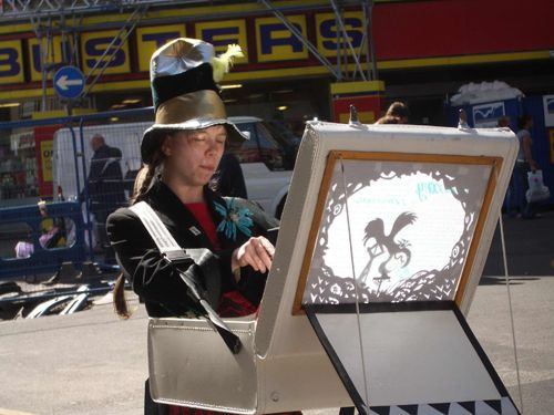 Blackpool402  Rough Magic Theatre,,,takes to the street with shadow puppets
