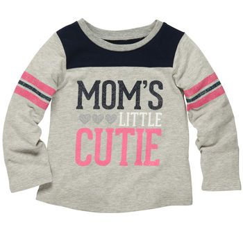 "Long-Sleeve Graphic Tee ""Mom's Little Cutie"" $6"