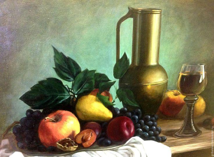 Купить Большая картина на подрамнике 50 на 70см Натюрморт с вином и фруктами - тёмно-зелёный