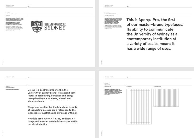 Branding and brand guidelines for The University of Sydney by graphic design studio Maud, Australia