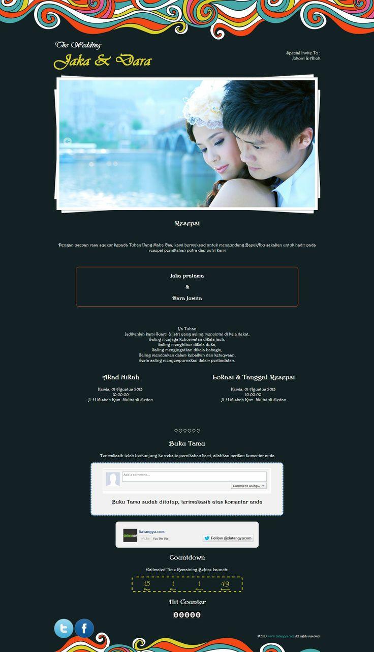 Varian kedua dari desain tema undangan online Curly, Curly-Medium, semua informasi pernikahan anda ada dalam satu halaman website
