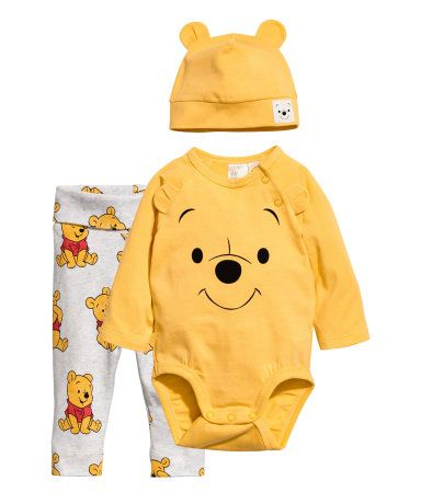 a66e588c2 3-piece Jersey Set | Yellow/Winnie the Pooh | KIDS | H&M US | H&M | Baby  kids clothes, Baby boy outfits, Winter baby clothes