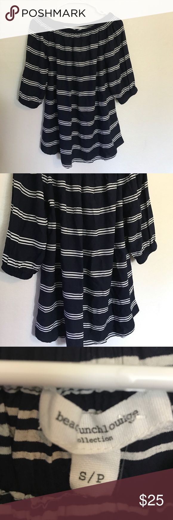 Blue and White Striped Blouse Blue and White Blouse - flowy/loose fit with a half sleeve. NWT - size small.  All orders are typically shipped same day if placed before 4 PM PST or following day if after.  Open to reasonable offers. Bundle for a discount!  💋 Tops Blouses