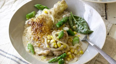 Almond Milk Braised Chicken, Corn, and Asparagus ... Check out this vid and cook up this delicious chicken dish that I made for Coles! It's perfect for dinner — the whole fam will love it.