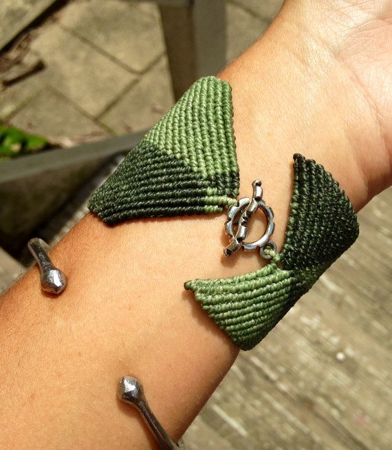 Wide macrame cuff 2 colors custom order color design by Knotology