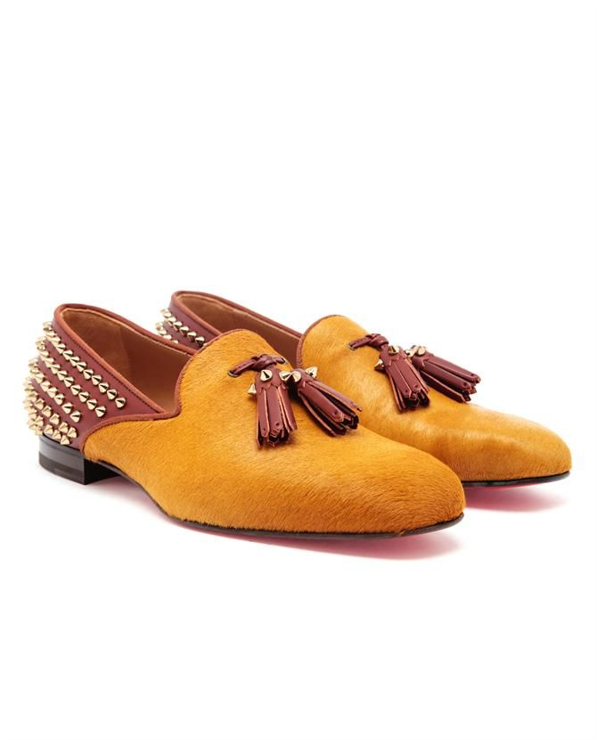 CHRISTIAN LOUBOUTIN   Tassilo Studded Ponyskin and Leather Loafers
