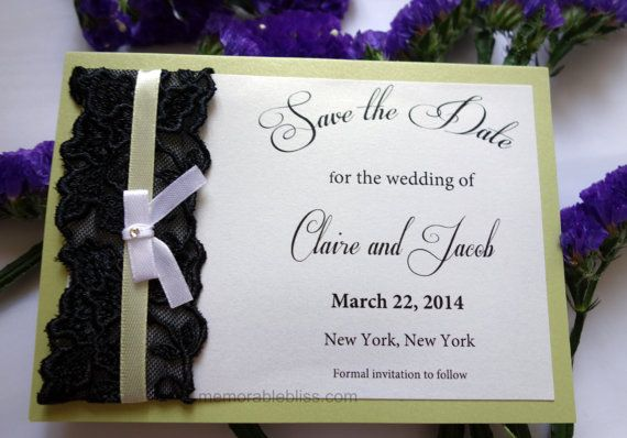 Handmade Save the Date with Floral Lace & Swarovski Crystal with linen textured or shimmer cardstock - USD2.15