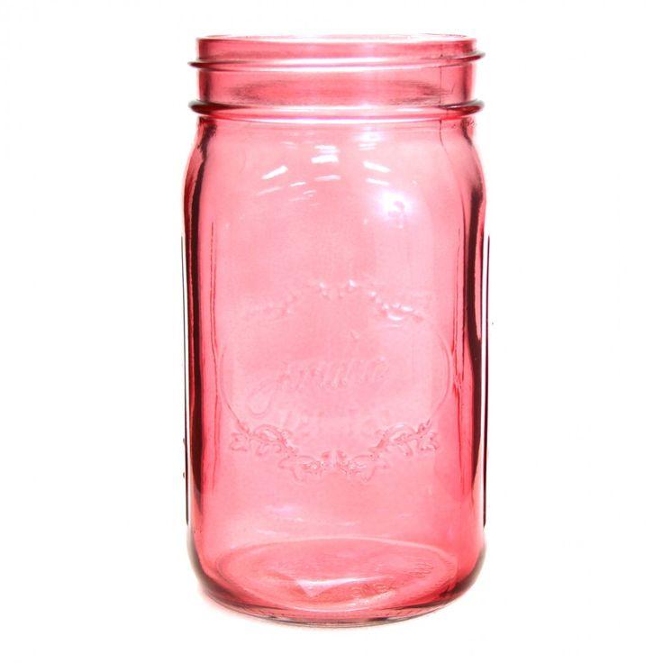 24 oz Colored Mason Jars - Pink [24 oz Pink Vintage Mason Jars] : Wholesale Wedding Supplies, Discount Wedding Favors, Party Favors, and Bul...