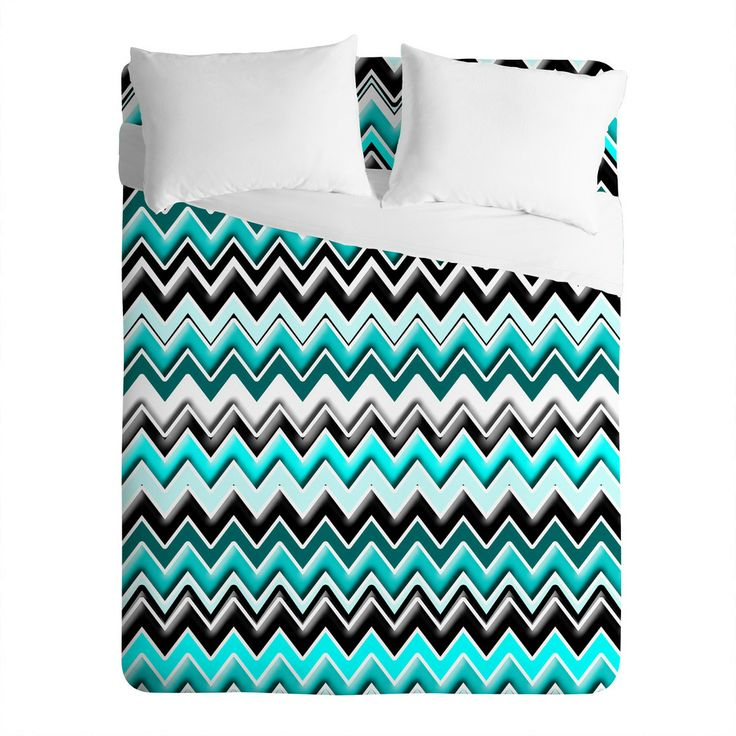 Turquoise Black White Chevron Sheet Set, DENY Designs Home Accessories. Too much or just right pop of bold color with the black and white?